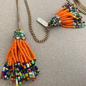 Rada orange beaded tassel fringe necklace -Calypso